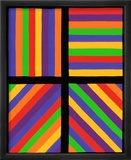 Color Bands in Four Directions, c.1999 Lmina gicle enmarcada por Sol Lewitt