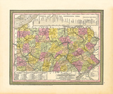 A New Map of Pennsylvania, 1850 Premium Giclee Print by S.A. Mitchell