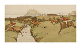 The Cottesbrook Hunt (The Brook) Premium Giclee Print by Cecil Aldin