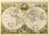 Nova Totius Terrarum Orbis Geographica ac Hydrographica Tabula, c1641 Premium Giclee Print by Hendrik Hondius