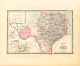 Map of the State of Texas, 1862 Premium Giclee Print by Johnson