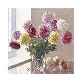 Dahlias and Fruit Premium Giclee Print by Valeriy Chuikov