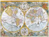 Orbis Terrarum Typus de Intero Multis in Locis Emendatus, 1594 Premium Giclee Print by Petrus Plancius
