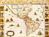 Americae Nova Tabula, 1617 Premium Giclee Print by Willem Janszoon Blaeu