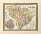 A New Map of South Carolina, 1850 Premium Giclee Print by S.A. Mitchell