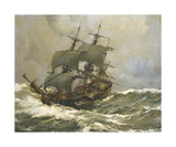 Old Timer in Rough Seas Premium Giclee Print by Montague Dawson