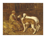 Boy with Greyhounds Premium Giclee Print by Sir Alfred Munnings