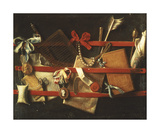 Letter Rack with Pearls Giclée-Premiumdruck von Samuel Van Hoogstraten