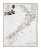 Map Of New Zealand, 1778 Premium Giclee Print by Antonio Zatta