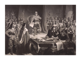 Cromwell Refusing the Crown Premium Giclee Print by Thomas Maguire