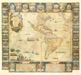 L'Amerique Dedice et Presente a sa Majeste tres Chrestienne Louis XVI, 1740 Premium Giclee Print by Jean Baptiste Nolin