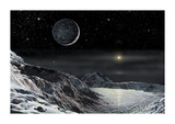 Pluto And Charon Premium Giclee Print by David A Hardy