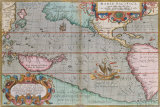 Maris Pacifici, 1590 Premium Giclee Print by Abraham Ortelius