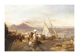 The Bay Of Naples With Mount Premium Giclee Print by Oswald Achenbach