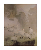Ptarmigans in a Mountain Landscape Premium Giclee Print by Archibald Thorburn