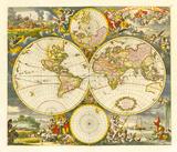 Nova Totius Terrarum Orbis Tabula, 1668 Premium Giclee Print by Frederik De Wit