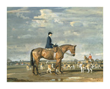 Sybil Harker on Saxa with the Norwich Staghounds Premium Giclee Print by Sir Alfred Munnings