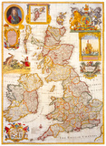 Geographic Map of Britain & Ireland, Art Print