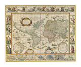 Map Of The World Premium Giclee Print by Richard Blome