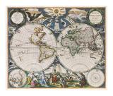 Orbis Terrarum Nova et Accuratissima Tabula, 1666 Reproduction giclée Premium par Pieter Goos