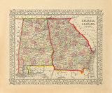 County Map of Georgia and Alabama, 1868 Premium Giclee Print by S.A. Mitchell