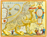 Leo Belgicus, 1617 Premium Giclee Print by Claes Claes Janszoon
