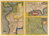 Peruviae Auriferae Regionis Typus Patent & La Florida (Latin America and Florida), 1584 Premium Giclee Print by Abraham Ortelius