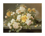 Pink And Yellow Roses Premium Giclee Print by Raoul De Longpre