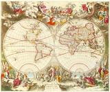Novissima Totius Terrarum Orbis Tabula, c1710 Premium Giclee Print by Jacob De La Feuille