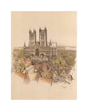 Lincoln Cathedral Premium Giclee Print by Cecil Aldin