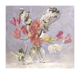 Cherry Blossom and Red Tulips Premium Giclee Print by Valeriy Chuikov