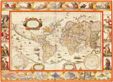 Nove Totius Terrarum Orbis Geographica, 1606 Premium Giclee Print by Willem Janszoon Blaeu