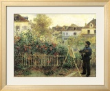 Monet Painting in His Garden at Argenteuil Posters by Pierre-Auguste Renoir