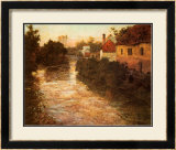 Village on the Bank of a Stream Poster by Fritz Thaulow