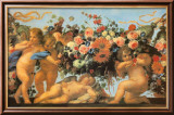 Angels with Garland of Flowers Plakat af Carlo Maratti