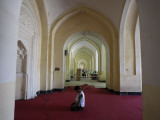 Afghan Election Worker Prays in an Empty Polling Station at the Eidga Mosque in Kabul Photographic Print