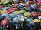 School Children Hold Up their Umbrellas after Taking Part in Umbrellas for Peace March, St. Helena Fotografisk tryk