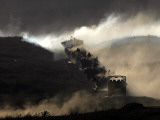 Israeli Army Vehicles Manoeuver During a Military Training Exercise in the Golan Heights Photographic Print