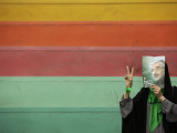 Supporter of Mir Hossein Mousavi Hides Her Face as She Waits at an Election Rally in Tehran Photographic Print