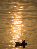 Chinese Man Fishing Along the Yangtze River, Just Upriver of the Three Gorges Dam in China Photographic Print
