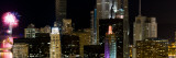 Skyscrapers and Firework Display in a City at Night, Lake Michigan, Chicago, Illinois, USA Photographic Print by  Panoramic Images