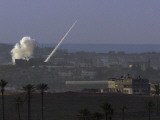 Rocket Fired by Palestinians Militants in the Gaza Strip Flies Towards an Israeli Target Photographic Print