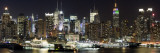Buildings in City Lit Up at Night, Hudson River, Midtown Manhattan, Manhattan, New York City Fotografisk tryk af Panoramic Images
