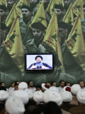 Shiite Cleric Men Listen to Hezbollah Leader Sheik Hassan Nasrallah Giving Speech, Beirut, Lebanon Photographic Print