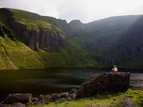 Young Woman Meditating, Coumshingaun Lough, Coeragh Mountains, County Waterford, Ireland Photographic Print