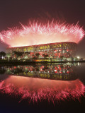 Fireworks Explods over National Stadium During the Opening Ceremony of Beijing 2008 Olympics Photographic Print