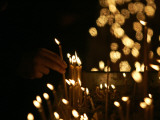 Lighting Candles, St. Sava Temple, Orthodox Church Says Head Patriarch Pavle Died, Belgrade, Serbia Photographic Print