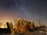 45-Minute Exposure for Circular Star Tracks over This Run-Down Barn Near Iron River, Wisconsin Photographic Print