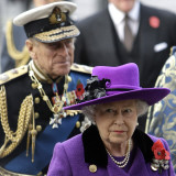Queen Elizabeth II and Prince Philip Arrive for Remembrance Day Service, Westminster Abbey, London Photographic Print