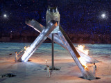 Olympic Cauldron is Lit by Wayne Gretzky and Others for the XXI Olympic Winter Games Photographic Print